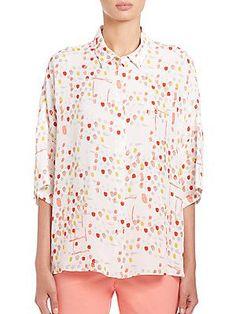 Piazza Sempione Dot-Print Silk Blouse - Print Coral - Size 4
