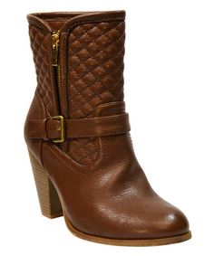 Another great find on #zulily! Cognac Quilted Marie Ankle Boot #zulilyfinds