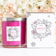 Stimulating and encouraging, the bright pink of Compassion combined with the soft aroma of Tea Rose encourages action and confidence whilst instilling a sense of peace and serenity.