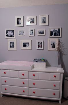 photo wall, i like the matching frames with black and white pics White Photo Frames, Wall Galleries, Black And White Pictures, Decorative Accessories, Dresser, Photo Wall, Gallery Wall, Decorating, Happy