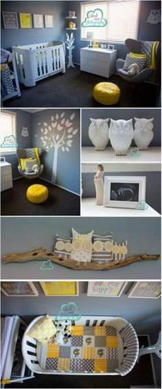 Yellow, grey and white owl themed unisex nursery