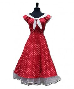 Polka Dot Swing Dress - Red