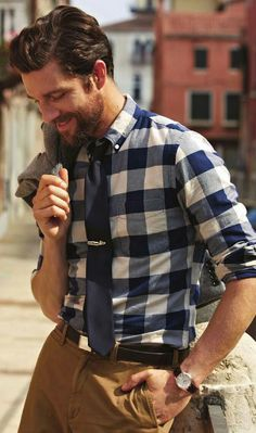 Snappy casual with gingham shirt. Pinned by Spark Strategic Ideas www.sparksi.com