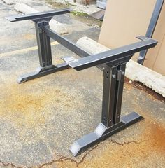 Stylish Dining Table Legs, Industrial Kitchen Table Legs with 1 Brace Heavy Duty steel tubing legs. 28 H x 28 W This listing is for set of 2 Steel Tubing Legs and 1 Brace 43 long. Total L - 49 - Made from Steel Tubing - 3 x 2 x 14 ga wall, Tubing 3 x 1 1/2 and Square Tubing 2 x 2 - Legs are predrilled. - Finish - Clear coated, Black flat.