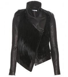 Fur Accented Leather Jacket - Lyst