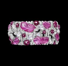 Cartier Urban Bracelet – Platinum, four carved pink sapphires, one ruby bead, carved moonstones, brilliants.