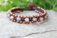 Macrame Leather Bracelet Copper Boho Style by BearCreekCollection, $38.00