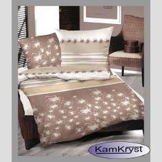 Pościel satynowa - wzór Kwitnąca Brązowa - satyna bawełniana - idealna posciel do każdej sypialni