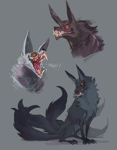"Draw Creatures pocketss: ""Taking a break from dragon commissions to draw some spicy dogs - I'm still obsessed with oni-faced kitsune. Monster Design, Monster Art, Monster Hunter, Mythical Creatures Art, Magical Creatures, Creature Concept Art, Creature Design, Creature Drawings, Animal Drawings"