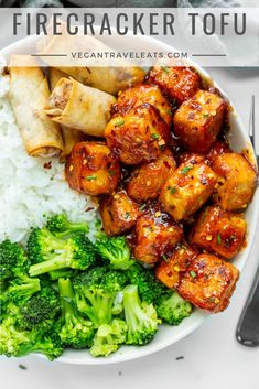 "Firecracker Tofu from Vegan Tofu Recipes - Tofu Recipes To Try In Vegan? Wondering what to do with that tofu you bought? You gotta ""check"" out this list of vegan tofu recipes! Tasty Vegetarian Recipes, Vegan Dinner Recipes, Whole Food Recipes, Cooking Recipes, Vegan Tofu Recipes, Firm Tofu Recipes, Dessert Recipes, Vegetarian Dinners, Beef Recipes"
