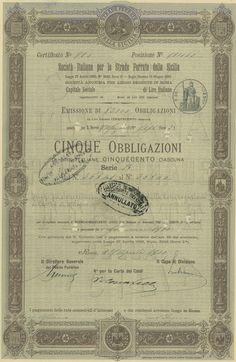 SOCIETA' ITALIANA PER LE STRADE FERRATE DELLA SICILIA - #scripomarket #scriposigns #scripofilia #scripophily #finanza #finance #collezionismo #collectibles #arte #art #scripoart #scripoarte #borsa #stock #azioni #bonds #obbligazioni
