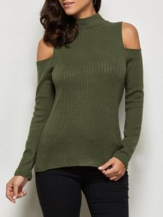 14b7764d320 Mock Neck Open Shoulder Knitted Top - GREEN SDresslily -https   www.