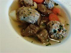 Polievka z daniela s knedličkami a hlivou (fotorecept) - recept | Varecha.sk Beef, Ethnic Recipes, Food, Meat, Essen, Meals, Yemek, Eten, Steak