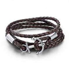 New Arrival Fashion  New Arrival Fashion Jewelry PU Leather Bracelet Men Anchor Bracelets For Women Best Friend Gift Pulsera