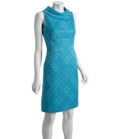Tahari ASL turquoise diamond jacquard neck button detail dress | BLUEFLY up to 70% off designer brands at bluefly.com