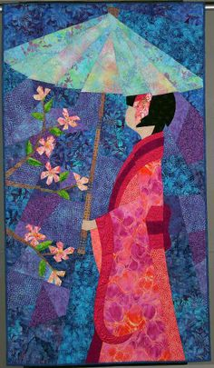 "Japanese Girl, 32 x 58"", by Diane Steffen, quilted by Patti Hill.  Entirely pieced with over 200 pieces.  2006 Road to California"