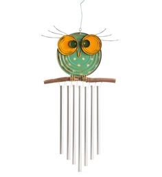 Recycled Metal Owl Wind Chime in Wind Chimes Owl Crafts, Crafts To Sell, Diy Wind Chimes, Wind Spinners, Metal Hangers, Owl Art, Stained Glass Art, Recycled Crafts, Yard Art