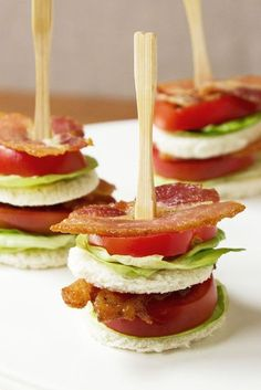 Party Appetizer & Finger Food | Simple & Tasty BLT on a stick. | Bacon, Lettuce, & Tomato Tea Sandwich.