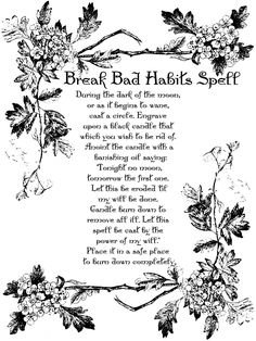 BREAK BAD HABITS SPELL Page for Book of Shadows BOS Pages Witchcraft Wicca Page