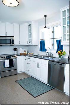 Ikea kitchen, quartz counter, cork floor via Vanessa Francis Design