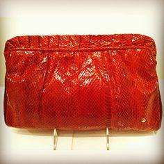 Vintage red snakeskin purse $105