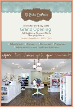 Li'l Baby Sprouts OC Baby Boutique Grand Opening! Baby Store Display, Store Displays, Children's Boutique, Boutique Design, Boutique Ideas, Clothing Store Interior, Baby Footprints, Lil Baby, Kids Store
