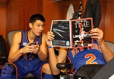 Jeremy Lin and Landry Fields read about this new sensation called Linsanity before the BBVA Rising Stars Challenge on Friday. Lin was held to two points but Fields scored 16 as Team Chuck beat Team Shaq 146-133.