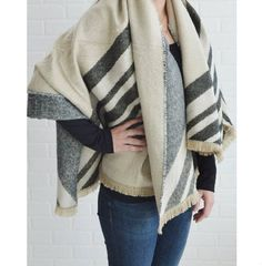 Beige and Gray Reversible Blanket Scarf from The Pynk Store - http://prettyinpynk.com/collections/scarves-and-ponchos/products/beige-and-gray-reversible-blanket-scarf