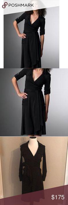 8b27e162c093d Diane Von Furstenberg Black Military Wrap Dress Diane Von Furstenberg Black  Military Style Wrap Dress.