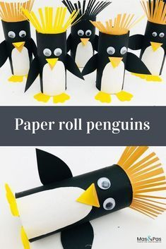 In a few minutes your child can transform a humble paper roll into one of these utterly adorable rockhopper penguins. Enjoy this fab penguin craft for kids. | Winter Crafts for Kids Origami Paper, Paper Quilling, Diy Paper, Paper Art, Penguin Craft, Penguin Ornaments, Penguin Party, Beach Ball, Toilet Paper Rolls