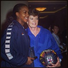 Pat Summit with Tamika Catchings at her induction ceremony.