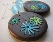 NEW Retro Embroidered Wood Earrings