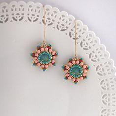 Long Colourful Flower Earrings, Unique Handmade  beadwork ,statement  goldfilled 14k earrings, dangle Swarovski earrings,  Romantic earrings