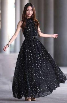 Elegant Black Tank Sleeveless Chiffon Dress on Luulla Short Beach Dresses, Trendy Dresses, Cute Dresses, Beautiful Dresses, Casual Dresses, Fashion Dresses, Maxi Dresses, Dress Long, Long Dresses