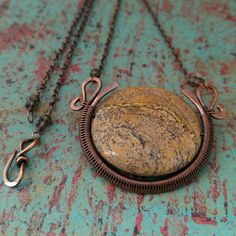 Harvest Moon, Picture Jasper, Copper Wire Wrapped Pendant, Handwoven Copper Pendant, Egyptian Style, Door 44 Jewelry, Made in…