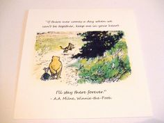 Keep Me In Your Heart - Winnie the Pooh Quote - Classic Piglet and Pooh Note Card #Pooh #baby #card