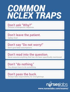 Don't fall for these common NCLEX Traps.  For practice questions visit: http://nurseslabs.com/nclex-practice-questions/