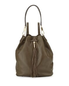 Cynnie Leather Tassel Backpack, Moss by Elizabeth and James at Neiman Marcus.