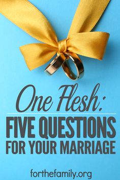 What does it mean to be one flesh? It is beyond commitment and vows. We need to be in unity in 5 important areas in order to have a marriage like God intends. Here are 5 important questions to think about and discuss with your spouse so that you may be truly one flesh.