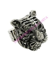 STRETCH TIGER HEAD PENDANT /BURNISHED RHODIUM WITH CLEAR RHINESTONES SIZE:ONE SIZE FITS ALL ADJUSTABLE
