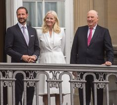 danishroyalfamily:  Queen Margrethe's 75th Birthday, April 16, 2015-Crown Prince Haakon (Margrethe's godson), Crown Princess Mette-Marit and King Harald