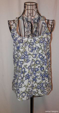 SPARKLE & FADE TOP S Small White Blue Floral Tank Sleeveless URBAN OUTFITTERS #SparkleandFade #TankCami #Casual