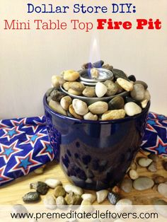 DIY Tabletop Fire Pit - Follow this easy tutorial to make a frugal and festive tabletop fire pit perfect for outdoor summer parties.
