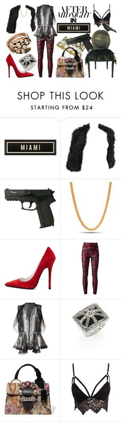 """""""After midnight in Miami"""" by akshera ❤ liked on Polyvore featuring Alexander McQueen, King Ice, Jeffrey Campbell, Miu Miu, Club L, Bulgari, black, red, miami and fur"""