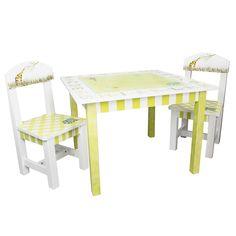 Teamson Fantasy Fields Alphabet 3-piece Kid's Table Set (Fantasy Fields - Alphabet Table & Set of 2 Chairs), Green