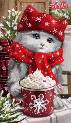 Selamat hari natal dari kami keluarga H Gultom Merry Christmas Gif, Christmas Scenery, Christmas Kitten, Christmas Animals, Vintage Christmas Cards, Christmas Images, Christmas Wishes, Christmas Greetings, Winter Christmas