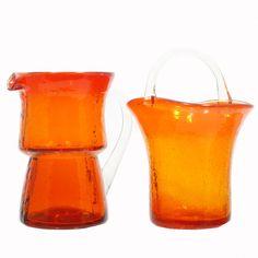 Pilgrim Vintage Crackle Glass Creamer Pitcher and Sugar Bowl Flame Orange