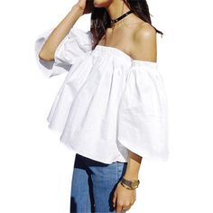 >> Click to Buy << Fashion 2017 Summer Off Shoulder Top White Blouse Shirt Ruffles Slash Neck Sexy Blouse Women Flare Sleeve Cropped Top For Women #Affiliate