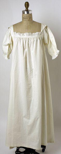 Linen nightgown, American or European, The Met, accession nr. Vintage Underwear, Vintage Lingerie, Victorian Fashion, Vintage Fashion, Vintage Outfits, Vintage Nightgown, 19th Century Fashion, Period Outfit, Vintage Mode