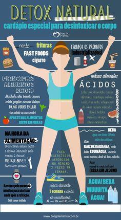 →Emagrecer Com Beleza E Saúde: Detox natural: cardápio especial para desintoxicar. Natural Body Detox, Full Body Detox, Detox Your Body, Body Cleanse, Best Way To Detox, Best Detox, Dietas Detox, Detox Tips, Vegan Detox